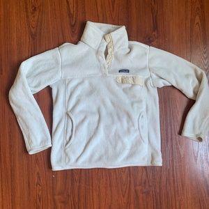 White Patagonia Fleece Snap Sweater